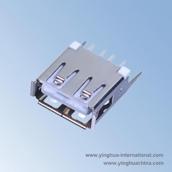 USB 2.0 A Type Female Connector - Vertical Straight Tabs 13.0 - No.U8332-USB 2.0 Connector ...
