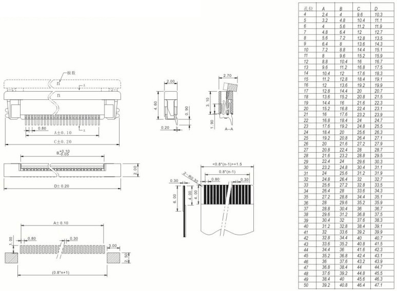 1 0 ph smt vertical normal layout fpc connector